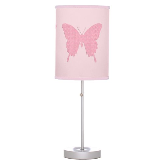 Butterfly In Wallpaper Print Light Pink Table Lamp Zazzle Com