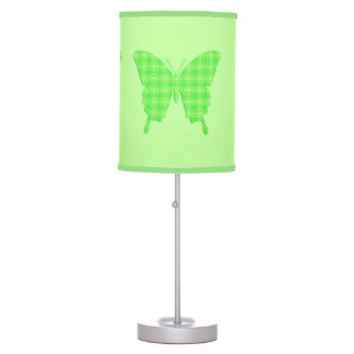 Butterfly In Wallpaper Print   Lime Green Table Lamp