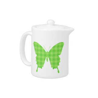 Butterfly in wallpaper print - lime green teapot