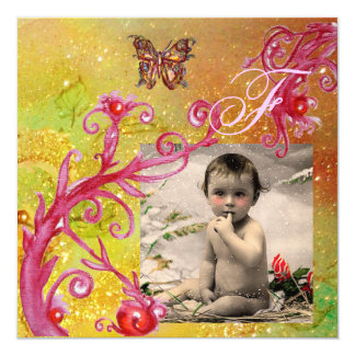 BUTTERFLY IN YELLOW BABY SHOWER Photo Template Card