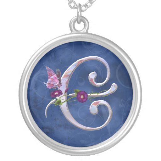 Butterfly Initial E Round Pendant Necklace