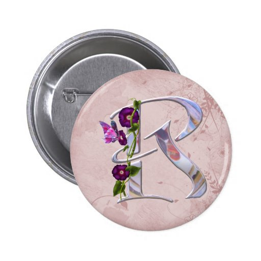 Butterfly Initial R 2 Inch Round Button
