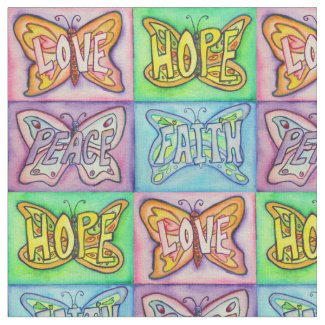 Butterfly Inspirational Word Art Fabric Material