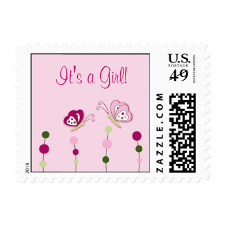 Butterfly It's a Girl Postage Stamps