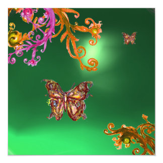 BUTTERFLY JADE GREEN, bright pink yellow brown Card