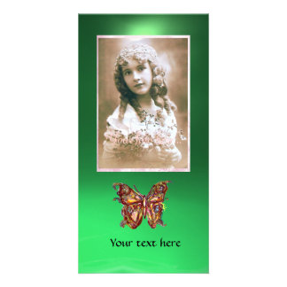 BUTTERFLY JADE GREEN ,red Photo Card