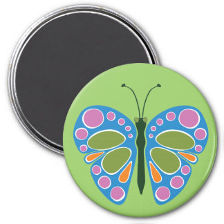 Butterfly Jam Blue 3 Inch Round Magnet
