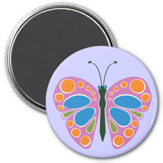 Butterfly Jam Pink 3 Inch Round Magnet