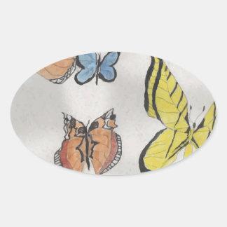 Butterfly Kaleidoscope Oval Sticker