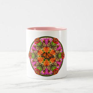 Butterfly Kaleidoscope Two-Tone Coffee Mug