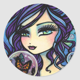 Butterfly Keeper Mermaid by Hannah Lynn Classic Round Sticker