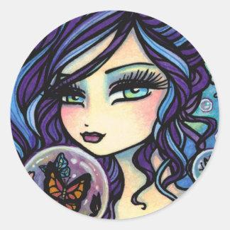 Butterfly Keeper Mermaid by Hannah Lynn Classic Round Sticker