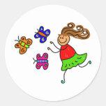 Butterfly Kid Classic Round Sticker