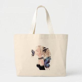 Butterfly Kiss, Daisey Van Diesel Large Tote Bag