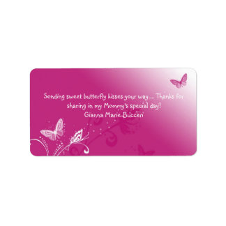 butterfly-kiss-pink-design, Sending sweet butte... Label
