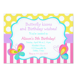 Butterfly Kisses and Birthday Wishes Party Card