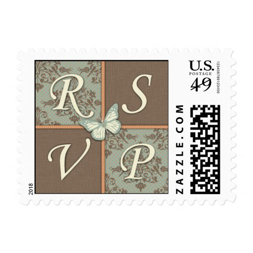 Butterfly Kisses Antique RSVP Stamp