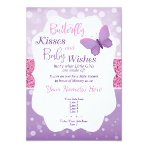 Butterfly Kisses Baby Shower Invitation Purple