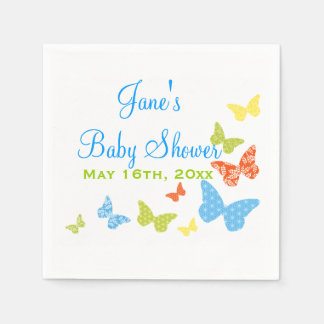 Butterfly Kisses Baby Shower Standard Cocktail Napkin