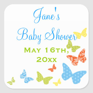 Butterfly Kisses Baby Shower Square Sticker