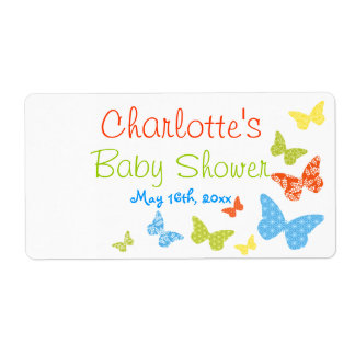 Butterfly Kisses Baby Shower Water Bottle Labels