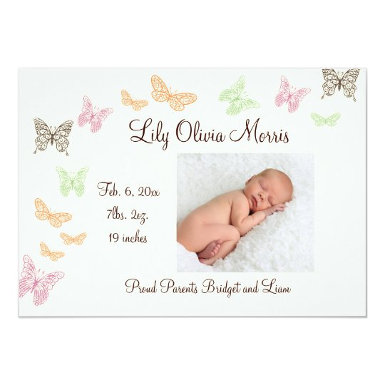 Butterfly Kisses Birth Announcement ivory
