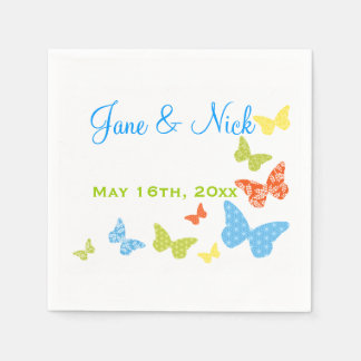Butterfly Kisses Bridal Shower or Wedding Standard Cocktail Napkin