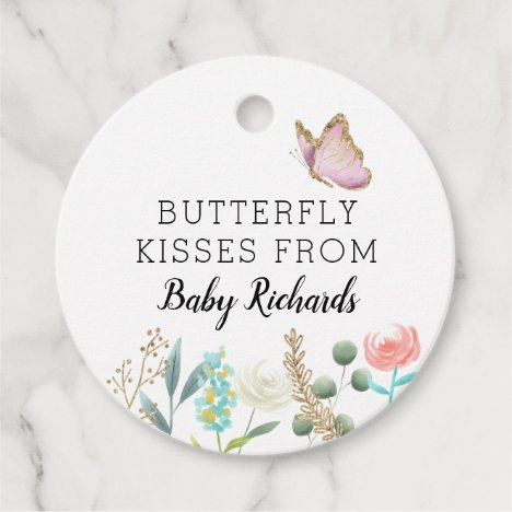 Butterfly Kisses Cute Baby Shower Floral Favor Tags