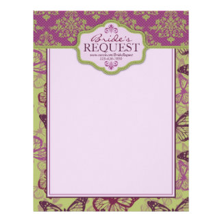 Butterfly Kisses Flirt Letter Head 2 Letterhead