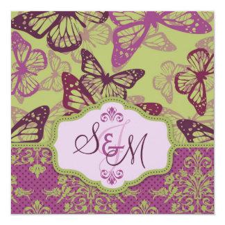 Butterfly Kisses Flirt Wedding Invite Square