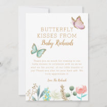 Butterfly Kisses Floral Baby Shower Thank You Card