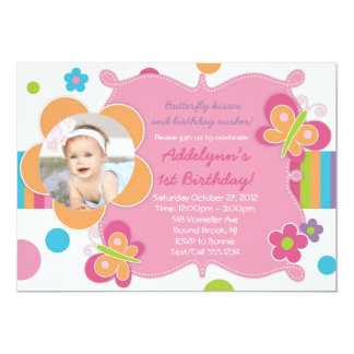 "Butterfly Kisses - Girly Party Invitations 5"" X 7"" Invitation Card"