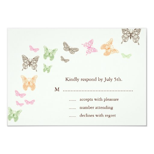 Butterfly Kisses RSVP ivory 3.5x5 Paper Invitation Card