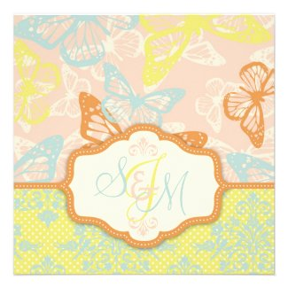 Butterfly Kisses Sweet Wedding Invite Square