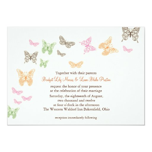 Butterfly Kisses Wedding Invitation ivory