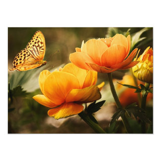Butterfly Kissing Golden Yellow Flowers Card