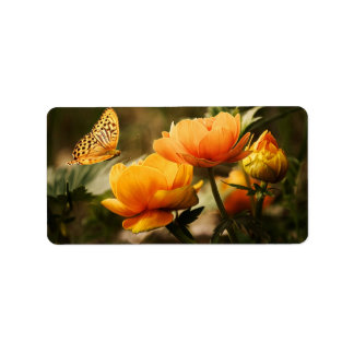 Butterfly Kissing Golden Yellow Flowers Address Label