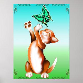 Butterfly Kitten Poster