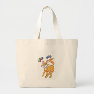 Butterfly Kitty Large Tote Bag