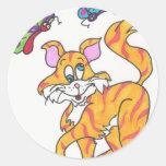 Butterfly Kitty Round Sticker