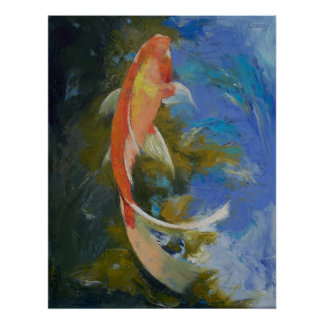 Butterfly Koi Painting Print