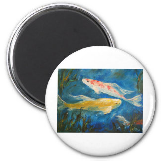 Butterfly Koi Pond 2 Inch Round Magnet