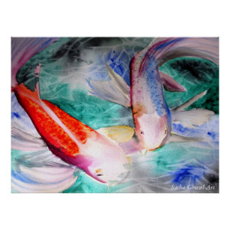 Butterfly Koi  Watercolor painting Japanese Fish Posters