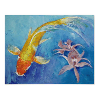 Butterfly Koi with Orchids Card
