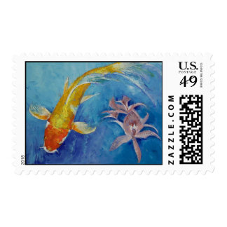 Butterfly Koi with Orchids Stamp