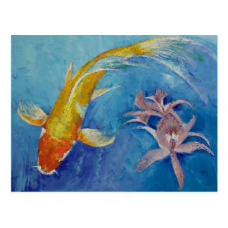 Butterfly Koi with Orchids Postcard