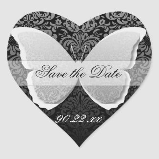 """Butterfly Lace """"Save the Date"""" Heart Sticker"""
