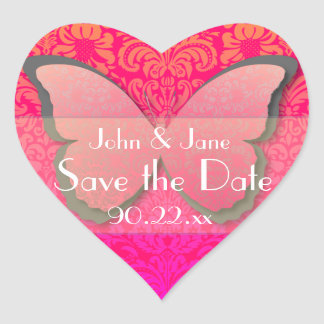 """Butterfly Lace """"Save the Date"""" (hot pink & coral) Heart Sticker"""
