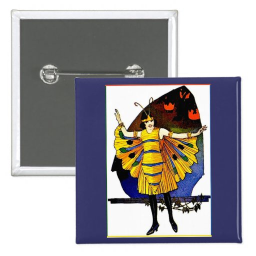 Butterfly Lady 2 Inch Square Button