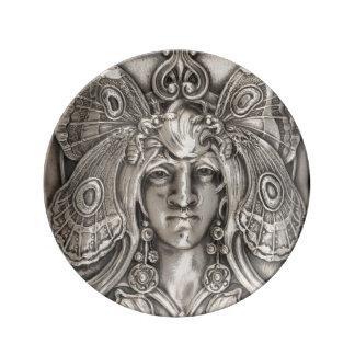 Butterfly Lady Art Nouveau Antique Silver Plate